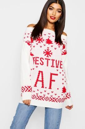 boohoo Faith Festive A.F. Christmas Jumper