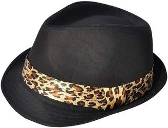 Simplicity Classic Solid Color Fedora Hat with Leopard Printed Ribbon Band