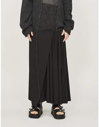Isabel Benenato Asymmetric pleated wool wrap skirt