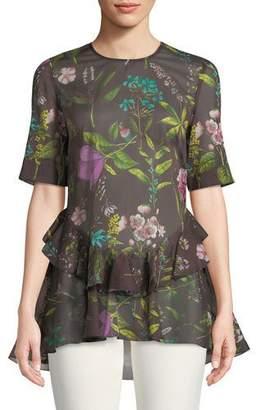 Lela Rose Floral-Print Short-Sleeve Cotton Top w/ Ruffle Hem