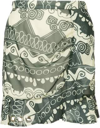 Self-Portrait ruffled printed skirt