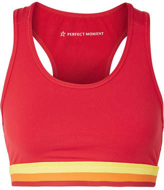 Perfect Moment Cutout Striped Stretch Sports Bra - Red