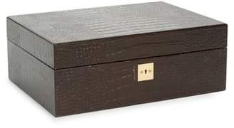 Smythson Mara Croc Embossed Jewelry Box with Travel Tray
