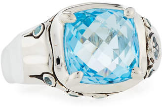 John Hardy Batu Bamboo Sky Blue & Swiss Blue Topaz Cushion Ring, Size 7