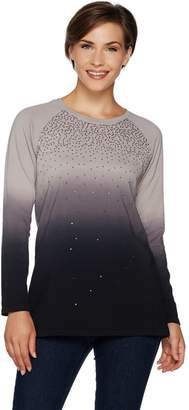 Factory Quacker Dip Dye Ombre French Terry Pullover with Sequins
