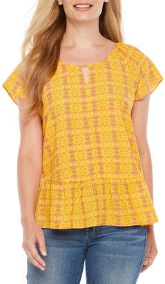 A.N.A Short Sleeve Scoop Neck Woven Blouse-Petite