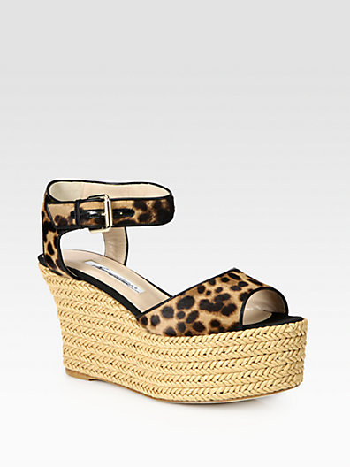 Brian Atwood Kelsie Leopard-Print Pony Hair Raffia Wedge Sandals