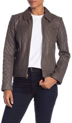Cole Haan Quilted Lamb Leather Jacket