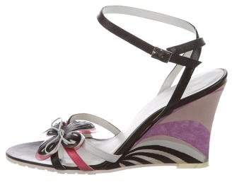 Emilio Pucci Floral Leather Wedges
