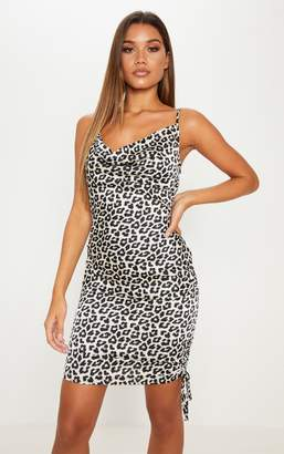 PrettyLittleThing White Satin Leopard Print Cowl Bodycon Dress