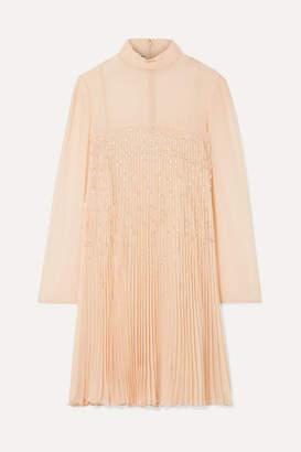 Prada Crystal-embellished Plissé-georgette Mini Dress - Peach