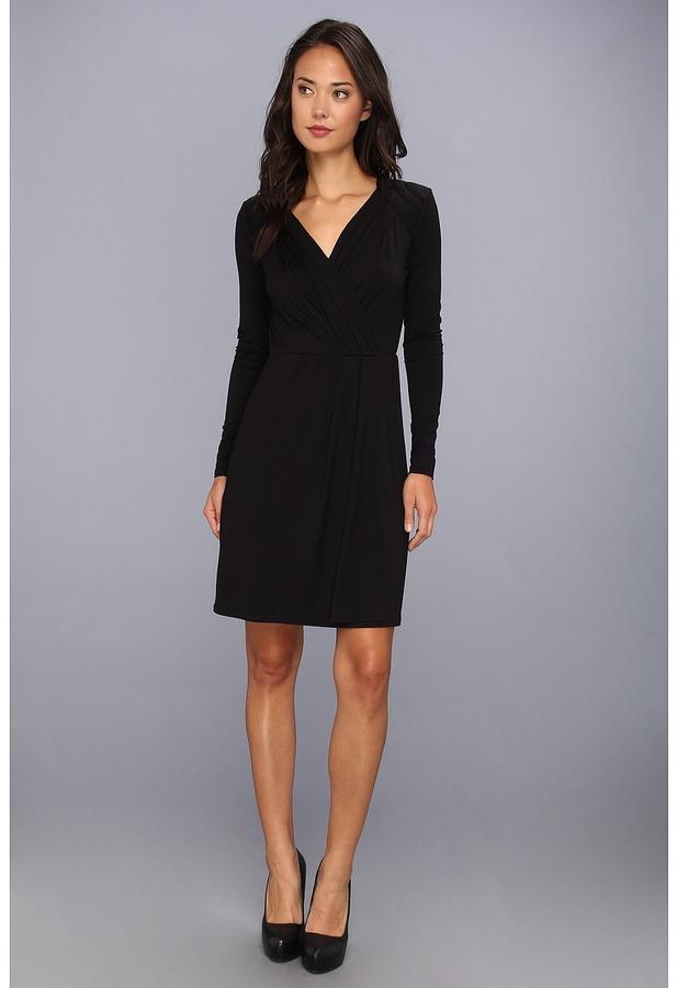 Three Dots L/S Faux Wrap Dress (Black) - Apparel