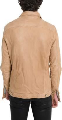 Giorgio Brato Leather Jacket With Shirt Collar