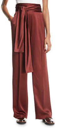 3.1 Phillip Lim Waist-Tie Wide-Leg Crepe Satin Pants