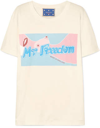 Gucci Printed Cotton-jersey T-shirt - Cream