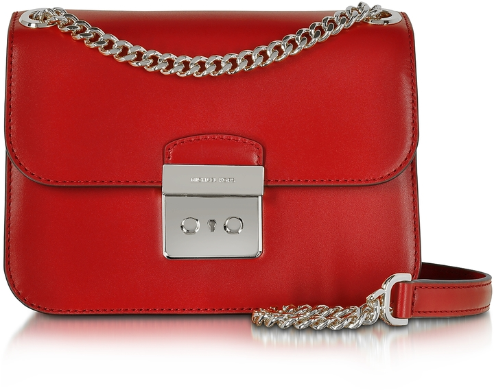 MICHAEL Michael Kors Michael Kors Sloan Editor Medium Bright Red Leather Chain Shoulder Bag
