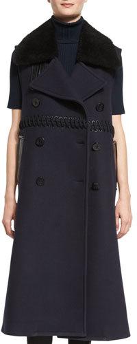 3.1 Phillip Lim3.1 Phillip Lim Long Double-Breasted Wool Fur-Trim Vest, Midnight