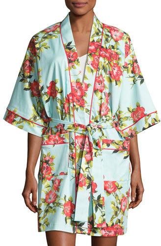 BedHeadBedhead Hibiscus Floral-Print Short Kimono Robe, Multicolor
