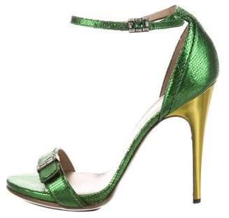 Lanvin Metallic Ankle Strap Sandals