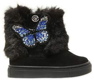 Miss Blumarine Embellished Suede & Faux Fur Boots