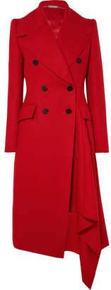 Alexander McQueen Double-breasted Asymmetric Wool And Cashmere-blend Coat - Red