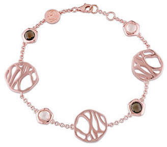 Catherine Malandrino 18K Rose Goldplated Rose and Smokey Quartz Bracelet