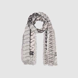 Sandro Cotton blend lightning bolt print scarf
