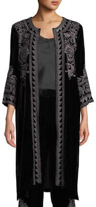 Johnny Was Hirsch Embroidered Velvet Midi Coat