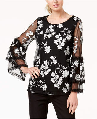 Alfani Embroidered Sheer-Sleeve Top, Created for Macy's