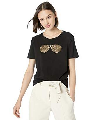 Karl Lagerfeld Paris Women's Sequin Sunglass TEE,XS