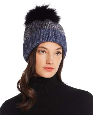 Aqua Fur Pom-Pom Metallic Beanie - 100% Exclusive