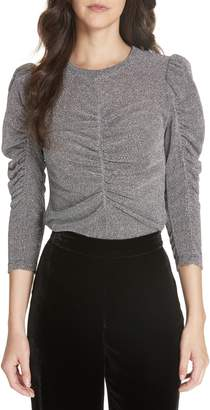 Rebecca Taylor Ruched Metallic Jersey Top
