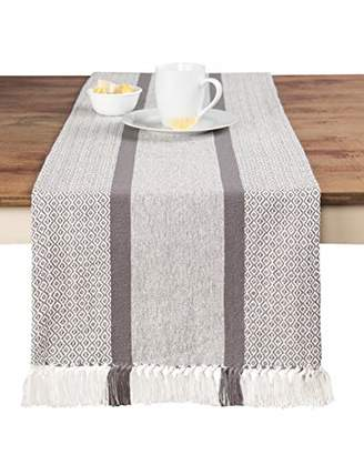 Sticky Toffee Cotton Woven Table Runner with Fringe