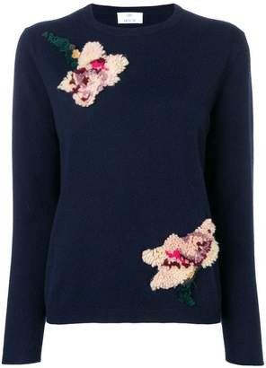 Allude textured flower sweater