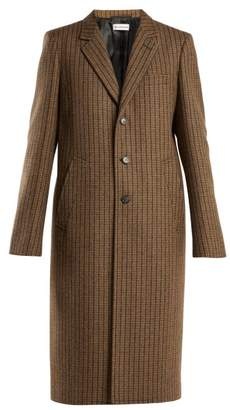 Balenciaga Single Breasted Wool Blend Coat - Womens - Brown Multi