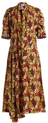 Prada Marocaine Floral Print Silk Dress - Womens - Yellow Print