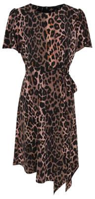 Pink Leopard Print Hanky Hem Midi Dress