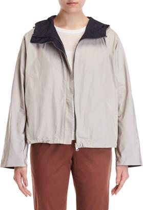 Peserico Beige & Navy Reversible Hooded Jacket