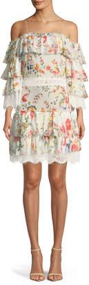 Alice + Olivia Santos Cold-Shoulder Floral-Print Tiered Silk Dress w/ Lace Trim
