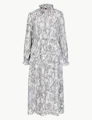 Marks and Spencer Animal Print Long Sleeve Shift Midi Dress