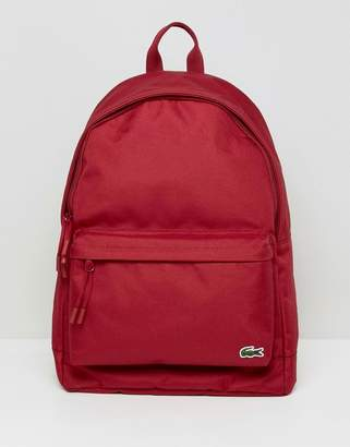 Lacoste Logo Backpack In Red