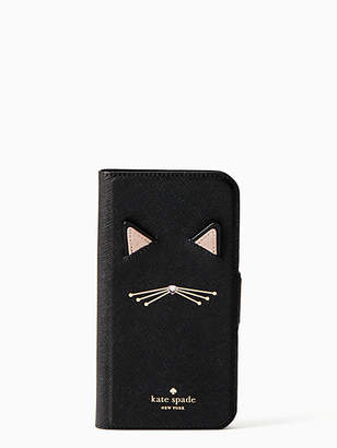 Kate Spade Cat applique iphone x & xs folio case