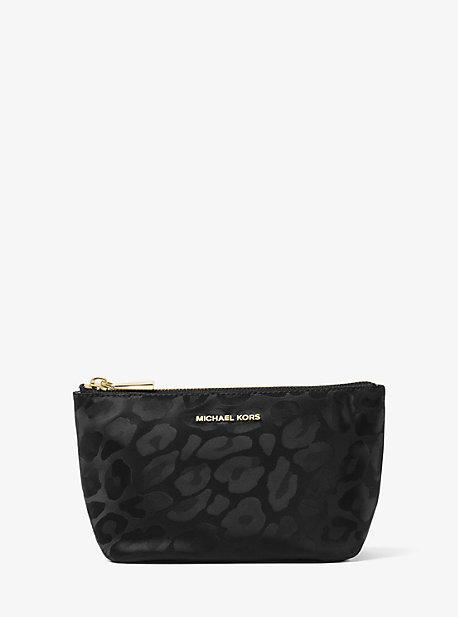 Michael Kors Penny Leopard Nylon Travel Pouch - BLACK - STYLE