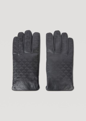 515d4cb79d7654 at armani.com · Emporio Armani Leather Gloves With All-Over Logo And Wool  Lining