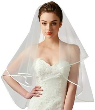 Drasawee Women Wedding Exquisite Satin Edge Fingertip Length Bridal Tulle Veil Milky