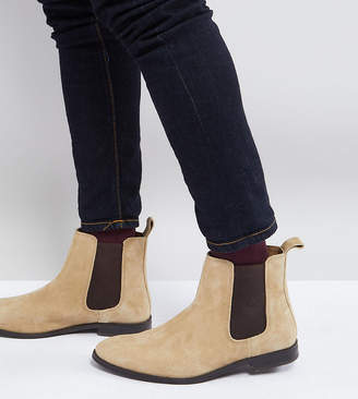 Asos Design Wide Fit Chelsea Boots in Stone Suede