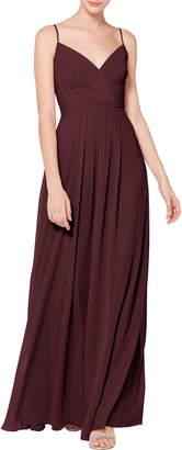 #Levkoff Surplice Neck Chiffon Evening Dress