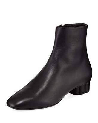 Salvatore Ferragamo Leather Ankle Booties with Flower Heel