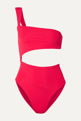Haight One-shoulder Cutout Swimsuit - Red