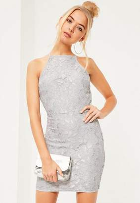 Missguided Lace Square Neck Bodycon Dress Gray